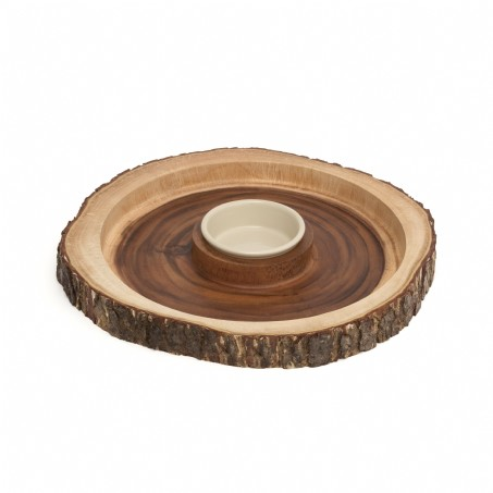 Acacia Bark Round Dipping Platter with Ceramic Bowl