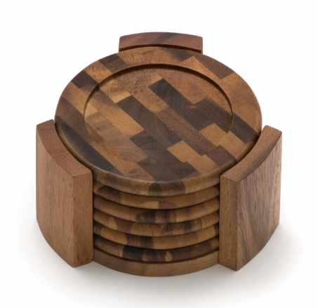 Acacia End Grain Coaster Set, 7-Piece Set