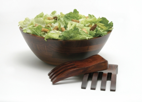 Cherry Finished Wavy Rim Bowl with Salad Hands, 3-Piece Set