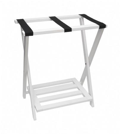 New Right Height Folding Luggage Rack With Bottom Shelf White Finish