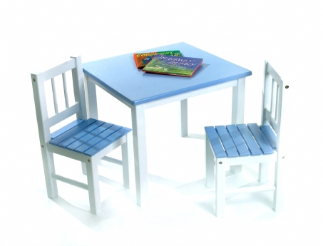 Child's Table & Chairs, 3-Piece Set, Blue & White