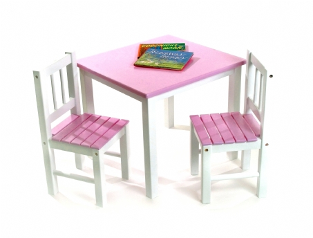 Child's Table & Chairs, 3-Piece Set, Pink & White