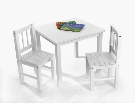 child's table & chairs, 3-piece set, white | lipper international ...