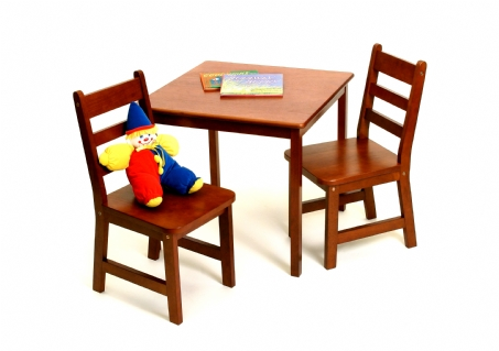 Child's Square Table & Chairs, 3-Piece Set, Cherry Finish
