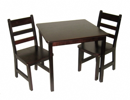 Child\u0027s Square Table \u0026 Chairs 3-Piece Set Espresso Finish  sc 1 st  Lipper International & Child\u0027s Square Table \u0026 Chairs 3-Piece Set Espresso Finish | Lipper ...