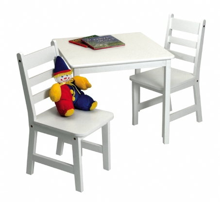 Child's Square Table & 2 Chairs, 3-Piece Set, White