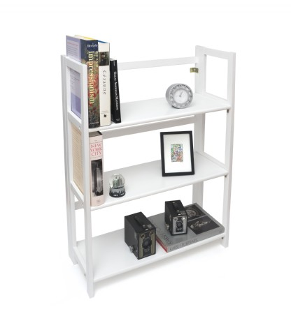 3 shelf folding bookcase white finish lipper. Black Bedroom Furniture Sets. Home Design Ideas