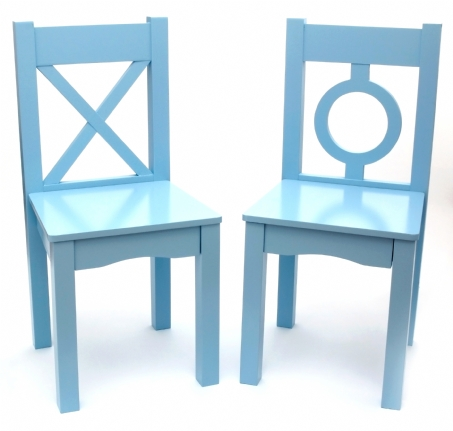 Child's Chairs, Set of 2, Light Blue