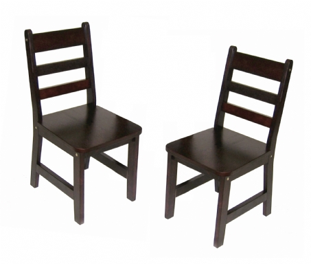 Child's Chairs, Set of 2, Espresso Finish