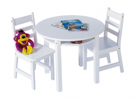 Child's Round Table with Shelf & 2 Chairs, White