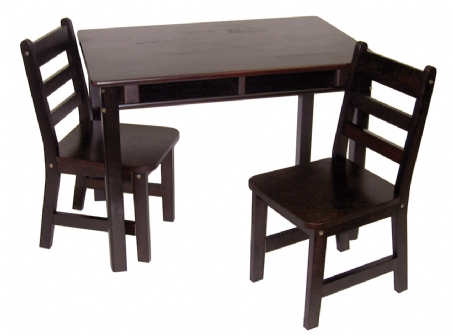Child's Rectangular Table with Shelves & 2 Chairs, Espresso Finish