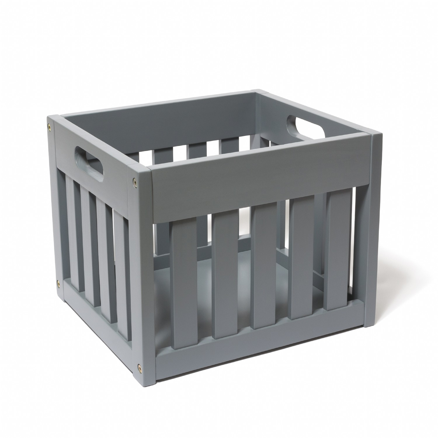 Wooden Storage Crate, Gray