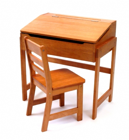 Child's Slanted Top Desk & Chair, Pecan Finish