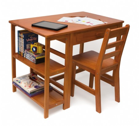 Child's Work Station and Chair, Pecan Finish