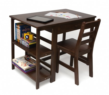 Child's Work Station and Chair, Walnut Finish