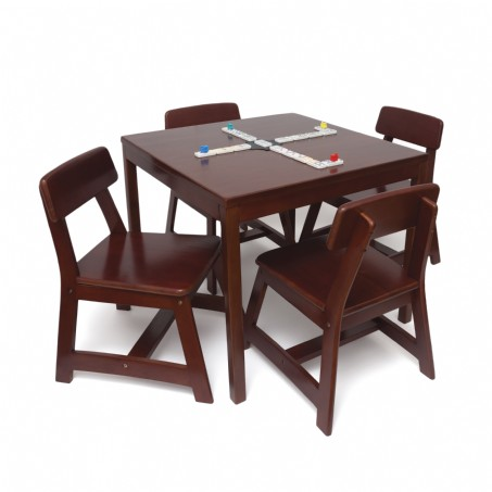 Child's 5 Piece Square Table and Chair Set, Cherry Finish