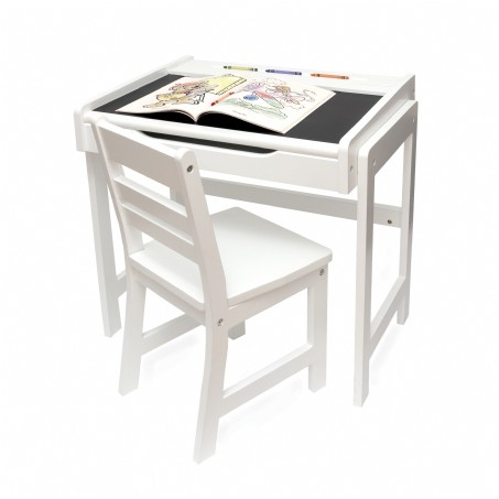 Child's Desk with Chalkboard Top and Chair Set, White Finish
