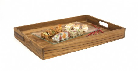 Teak Large Serving Tray with Cutout Handles
