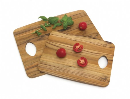 Teak Set of Two Cutting Boards, 1 Medium & 1 Large