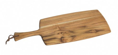 Teak Paddle Board with Leather Tie, Beveled Edges 20""