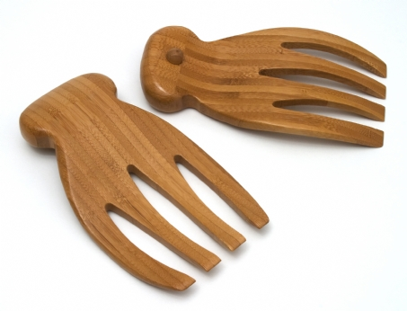 Bamboo Salad Hands With Knob Handles