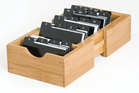Bamboo Expandable Business Card Holder with Alphabet Index Tabs