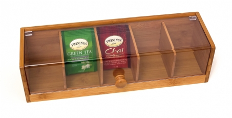 Bamboo Amp Acrylic Tea Box 5 Sections Lipper