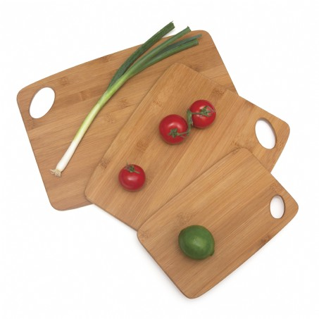 Bamboo Thin Cutting Board with Oval Hole in Corner, Set of 3