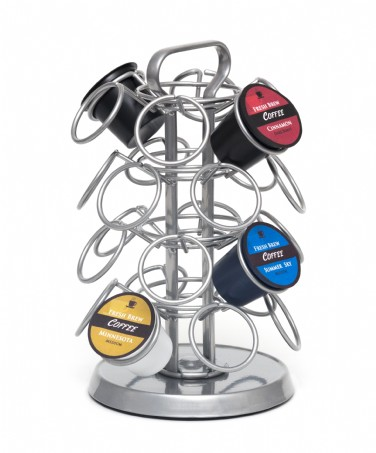 Grey 4-Tier Revolving Coffee Pod Carousel