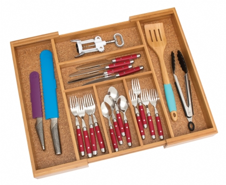 Bamboo Expandable Flatware Organizer with Cork Bottom