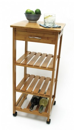 Bamboo Space-Saving Cart with 1 Drawer