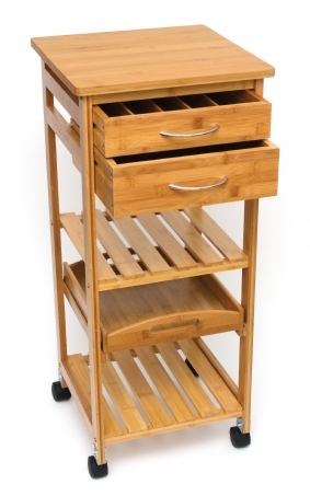 Bamboo Space-Saving Serving Cart with Removable Tray