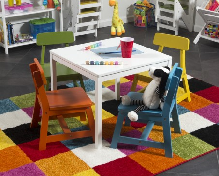 Child's 5 Piece Square White Table and Multi Color Chair Set
