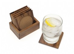 Acacia Square Coaster Set with Cork, 7-Piece Set