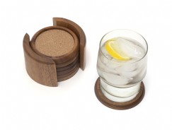 Acacia Round Coaster Set with Cork, 7-Piece Set