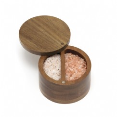 Acacia Divided Spice Box with Swivel Cover