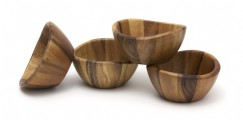 Acacia Wave Bowl Set, Set of 4 bowls