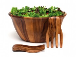 Acacia Flair Rim Bowl with Salad Hands, 3-Piece Set
