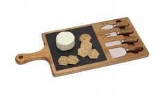 Acacia and Slate Serving Board with 4 tools