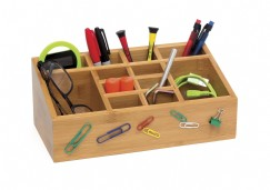 Bamboo 12 Section Organizer with Removable Dividers and Magnetic Front