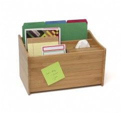 Bamboo Multipurpose Organizer with Boutique Tissue Box Holder