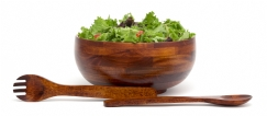 Cherry Finished Rice Bowl with Servers, 3-Piece Set