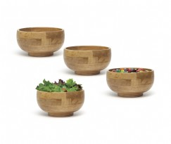 Oak Finished Footed Rice Bowls, Set of 4