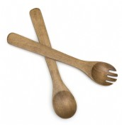 "Oak Finished Round 13"" Salad Servers"