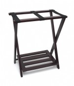 Right Height Folding Luggage Rack with Bottom Shelf, Espresso Finish