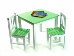 Child's Table & Chairs, 3-Piece Set, Green & White