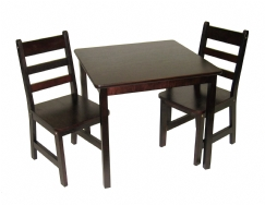 Child's Square Table & Chairs, 3-Piece Set, Espresso Finish