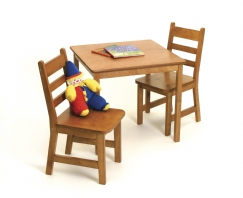 Child's Square Table & Chairs, 3-Piece Set, Pecan Finish