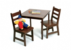 Child's Square Table & Chairs, 3-Piece Set, Walnut Finish