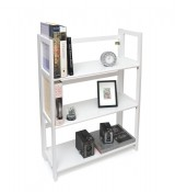 3 Shelf Folding Bookcase, White Finish